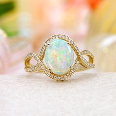 14k Solid Australian Crystal Opal, Diamond Ring === Now only: $2183 ===