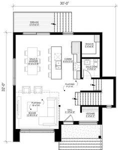 Plan de maison Ë_144   Leguë Architecture Square House Plans, Small House Plans, Contemporary House Plans, Modern House Design, Facade House, House Roof, 2 Storey House Design, India Architecture, Sims House Plans