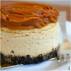 Cheesecake de doce de leite com base de biscoito