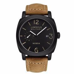 494c3c6c948 Barato Esportes Pulseira de Couro Marrom dos homens Relógios Top Marca de  Luxo Militar Do Exército