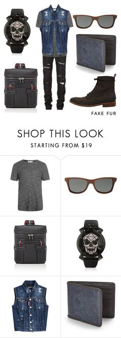 """Lince Water Grey"" by fakefur on Polyvore featuring Yves Saint Laurent, Topman, Shwood, Christian Louboutin, GaGà Milano, Dsquared2, Robert Graham, men's fashion y menswear"