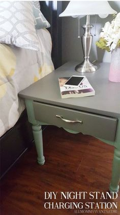 diy flip turn a 3 end table into a beautiful charging station, bedroom ideas, painted furniture Cute Furniture, Diy Furniture Projects, Ikea Furniture, Repurposed Furniture, Furniture Makeover, Vintage Furniture, Painted Furniture, Diy Projects, Luxury Furniture