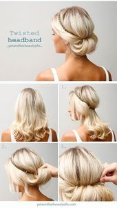 18 Quick and Simple Updo Hairstyles for Medium Hair,Twisted Headband Updo Hairstyle - Blonde Medium Hiar Ideas for Summer. 18 Quick and Simple Updo Hairstyles for Medium Hair,Twisted Headband Updo Hairstyle - Blonde Medium Hiar Ideas for Summer. Updo Hairstyles Tutorials, 5 Minute Hairstyles, Headband Hairstyles, Cute Hairstyles, Hairstyle Ideas, School Hairstyles, Easy Hairstyle, Beautiful Hairstyles, Up Dos For Medium Hair