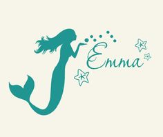 Monogram Wall Decal personalized Kids mermaid decor coastal sign lettering, PreTeen beach art wall sticker