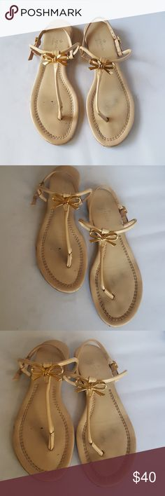 "Kate Spade Nude Thong Sandals Minor wear on footbed, minor scuffs on toes,and street wear on soles.  Good used condition.  1/2"" wedge heel Kate Spade Shoes Sandals"