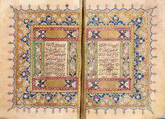 Coran Ottoman du règne de Mustafa iii, signé et daté 1177h./1763 beau manuscrit sur papier. 304 folios de 15 lignes par page, texte à l'encre noir et vocalisation rouge, dans un encadrement doré. rosettes de versets dorées. belle double page à frontispice enluminée et polychromée. titres des sourates en blanc sur fond doré dans des cartouches enluminés. colophon dans un médaillon enluminé, écrit en noir et signé Ali El Ilmi (élève de Yusuf El Fasli) et daté 1177h./1763.