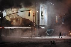 """NYC. A threatening billboard in the snowy, cold night """"I have kept your face"""" // Christophe Jacrot photographies"""