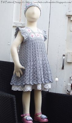 Grey Granny Square Crochet Dress Pattern -Toddler Girl. €5.00, via Etsy.
