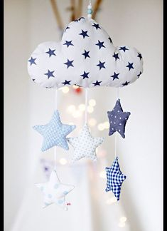 Die Wolke u. - Baby Spielzeug , Lovingly handcrafted mobile with a cloud and five stars. The cloud and the stars are sewn of different cotton fabric and filled with cotton wool. A sp. Baby Sewing Projects, Sewing For Kids, Diy For Kids, Baby Crafts, Felt Crafts, Tilda Toy, Diy Bebe, Baby Co, Baby Baby