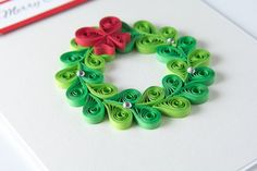 Unique Christmas Greeting Card Quilling Quilled by PaperParadisePL