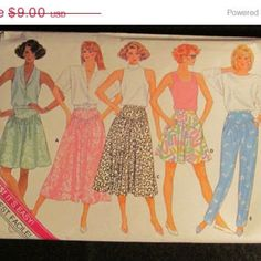 Sale Uncut/Cut 1980's Butterick Sewing Pattern, 4657! 6-8-10 Small/Med/Women's/Misses/Skirts/Culottes/Pants/Flare Skirt/mini/Knee/Calf Lengt
