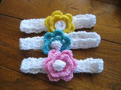 Set of 3 Crocheted Headbands Flower Handbands by PinkysCrochetShop, $10.00 https://www.etsy.com/shop/PinkysCrochetShop?ref=si_shop