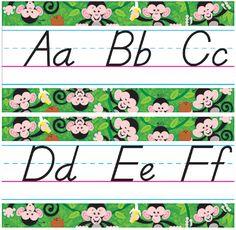 Monkey Mischief Alphabet Line Modern Manuscript Bulletin Board Set (T-8226) #classroom #decor #AILtyler