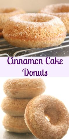 Cinnamon Cake Donuts, fast, easy and delicious, a perfect breakfast, snack or dessert recipe. Donut Recipes, Pastry Recipes, Brunch Recipes, Baking Recipes, Dessert Recipes, Baking Breads, Baking Cakes, Donuts Beignets, Baked Doughnuts