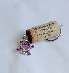 Cork Keychain with a Pink Rhinestone Skull by ThisandThatCrafter