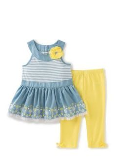 Kids Headquarters Blue Chambray Peplum Top and Solid Legging 2-Piece Set Toddler Girls
