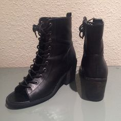 Black lace up open toe ankle booties. Gently used only selling because I have a similar pair that I wear more Forever 21 Shoes Ankle Boots & Booties