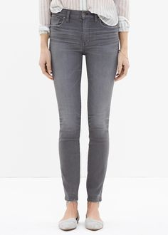 madewell gray high rise skinny jeans