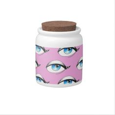 Shop Blue Eyes Pattern Pink Candy Jar created by EveyArtStore. Eye Pattern, Custom Candy, Girly Gifts, Optician, Candy Jars, Pink Candy, Design Your Own, Blue Eyes, Eye Candy