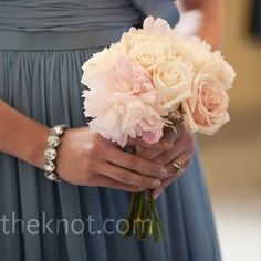 Color palette: Bridesmaids in blue, with pink, peach, and ivory flowers. #pinBellaFigura