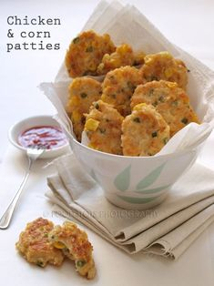 Chicken & corn patties. Bite sized for little hands. *My toddler loved these. Added shredded carrots. Pretty mild -- May add more flavor next time.