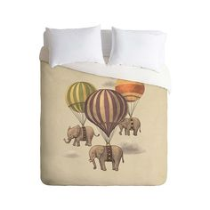 Wish this wasn't polyester, but would look great in a kid's room.Fanciful Balloon Parade Duvet Cover