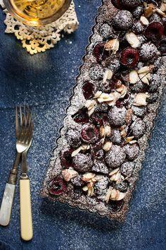 cherry and chocolate almond tart