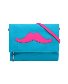 Color-block Mustache Canvas Shoulder Bag