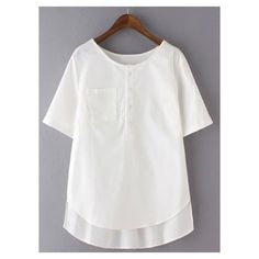 Plus Size Short Sleeve Buttoned Pocket Design T-Shirt For Women ❤ liked on Polyvore featuring tops, t-shirts, plus size white tops, short sleeve t shirt, white top, womens plus size t shirts and white short sleeve top