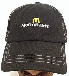 Authentic McDonalds Fast Food Employee Uniform Black Baseball Cap Hat  Adjustable. Black Baseball Cap c7e49ee30a12