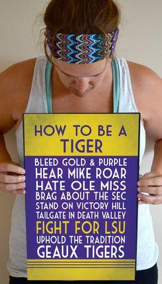 LSU Tigers Art Print LSU Tigers Quote Poster by SmartyPantsStudio, $24.00