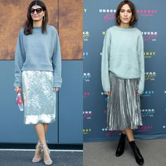 Street style mainstays Giovanna Battaglia and Alexa Chung balance light blue and high octane silver to cool results.