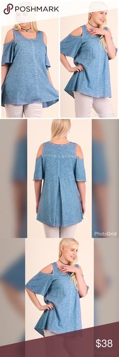 PLUSONLY 2 XL LEFT!!Washed Cold Shoulder Top Best in Tops--HOST PICK!! Short sleeve top with Aline back panel. Model is 6'0 and wearing XL.  55% Cotton 45% Polyester. Tops