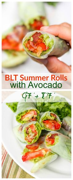 GFDF BLT Summer Rolls with Avocado - who needs the bread anyway when with thin rice paper wrappers you can get to all the star ingredients right away! Less calories, less carbs, more flavor. Gluten Free and Dairy Free. Perfect for lunch or a light dinner. Dairy Free Recipes, Paleo Recipes, Cooking Recipes, Slow Cooking, Recipes Dinner, Atkins Recipes, Gluten Free Dinners, Healthy Gluten Free Recipes, Cooking School