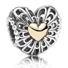Pandora Vintage Heart Charm with 14K Charm - Limited Edition