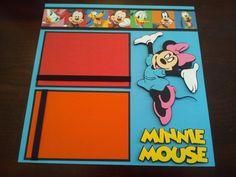 "Disney 2 Page 12"" x 12"" Mickey Minnie Mouse Scrapbook Layout w Paper Piecings 