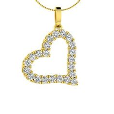 Round SI Diamond Necklace in 14k Yellow Gold