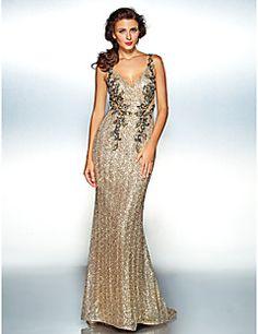 Homecoming Dress Sheath/Column V-neck Floor-length Sequined – USD $ 139.99