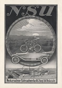 NSU NSU cars motorcycles bicycles Neckarsulm poster Braunbeck engine A3 430 | eBay