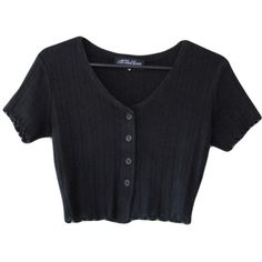 90s Crop Top Black Ribbed Fabric All That Jazz (€13) ❤ liked on Polyvore featuring tops, t-shirts, shirts, crop tops, button shirt, crop t shirt, rib t shirt, button t shirt and ribbed crop top