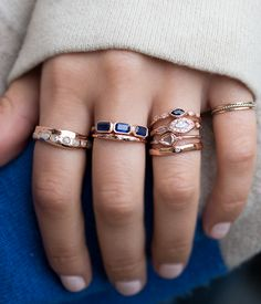 Rose Gold Sapphire Blockette Ring - Audry Rose