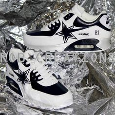 competitive price 71199 3f060 ... Dallas Cowboys style Air Max 90 with numbering and star tongue. Navy  bluesilverwhite in color ...