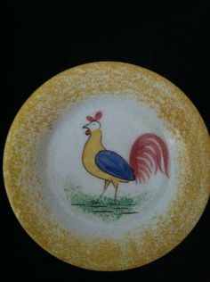 "Extremely Rare YELLOW Spatterware with Rooster. 3 1/4"" diameter"