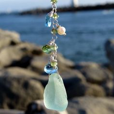 Aqua Sea Glass Necklace, Genuine Sea Glass Jewelry by TideCharmers on Etsy