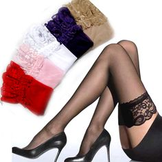 b48949530fc Thin Ultrathin Sexy Women color Tights Summer Stockings Lace nylon Top  Thigh High Ultra Sheer Knee High Stockings Lingerie-in Stockings from  Women s ...