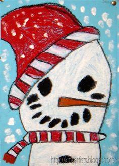 oil pastel/paint snowman.