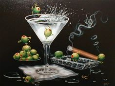 Michael Godard art. No matter the subject his artwork is most recognized by adding olives. He's amazing