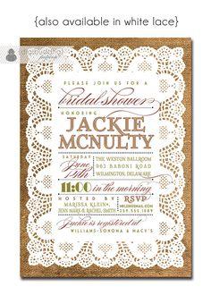 Lace Burlap Bridal Shower Invitation Vintage Rustic Bridal Wedding Invitation Typography Poster Printable Digital or Printed - Jackie Style. $23.00, via Etsy.