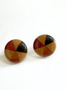 0544f02d850 Art Deco Pierced Earrings-Vintage Wood