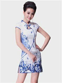 Women's Cotton Polyester Blue-white Mini Cheongsam Dress